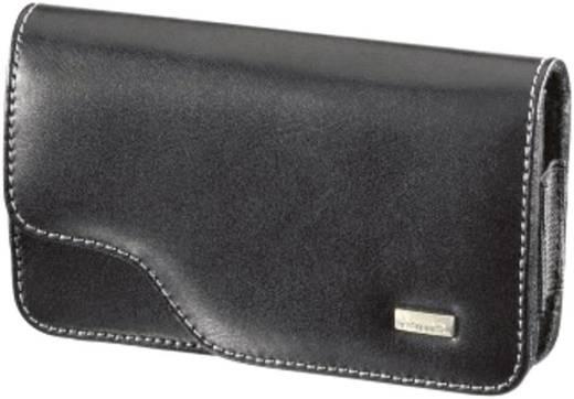 Hama Backcover Life Größe 3 - Echtleder Handytasche mit Gürtelclip und Magnetverschluss 125mm 70 mm 16 mm , Schwarz