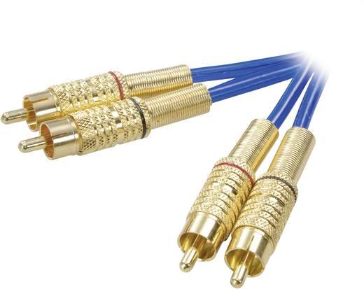 SpeaKa Professional Cinch Audio Anschlusskabel [2x Cinch-Stecker - 2x Cinch-Stecker] 10 m Blau vergoldete Steckkontakte