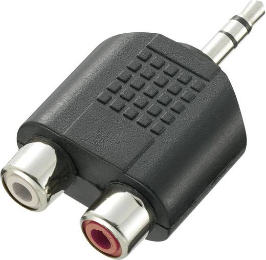 Klinke / Cinch Audio Y-Adapter [1x Klinkenstecker 3.5 mm - 2x Cinch-Buchse] Schwarz SpeaKa Professional