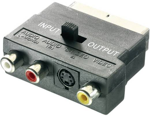 SCART / Cinch / S-Video Adapter [1x SCART-Stecker - 3x Cinch-Buchse, S-Video-Buchse] Schwarz mit Umschalter SpeaKa Profe