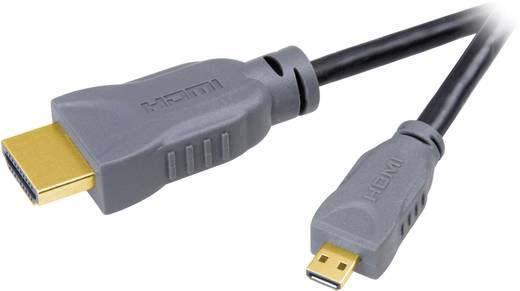 HDMI Anschlusskabel [1x HDMI-Stecker - 1x HDMI-Stecker D Micro] 1.50 m Schwarz SpeaKa Professional