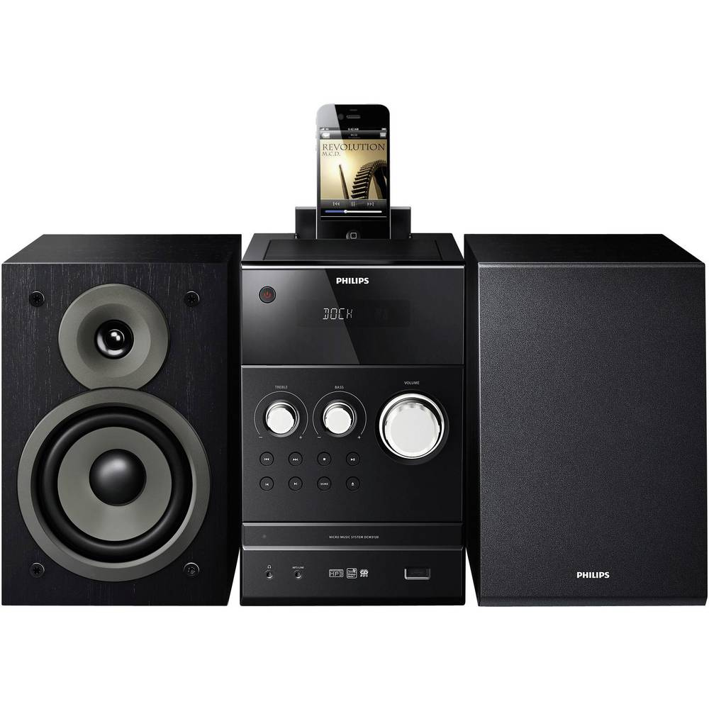mini cha ne hifi usb dock ipod iphone noire philips dcm3120. Black Bedroom Furniture Sets. Home Design Ideas