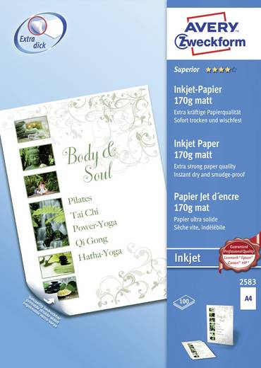 Tintenstrahl Druckerpapier Avery-Zweckform 2583 2583 DIN A4 170 g/m² 100 Blatt Weiß