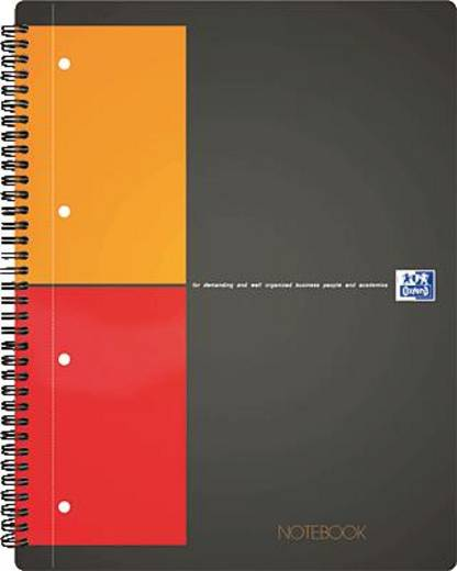 Oxford Notebook/357001202 A4+ orange/grau/rot liniert 6mm 80g/qm Inh.80 Blatt