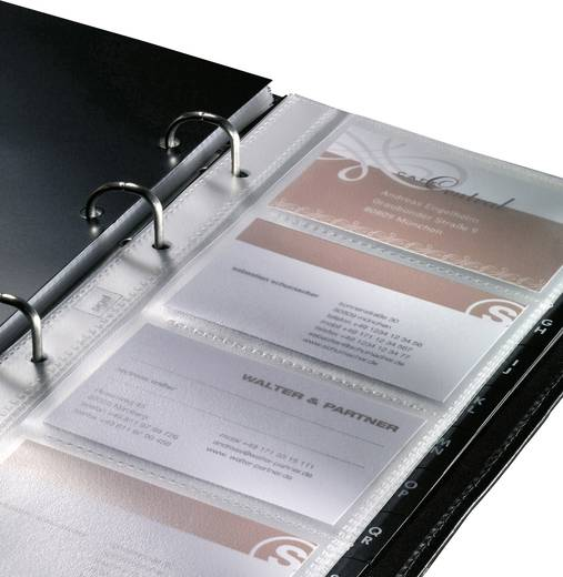 Sigel VZ204 Visitenkartenringbuch Torino aus echtem Nappa-Leder, schwarz, für 160 Karten