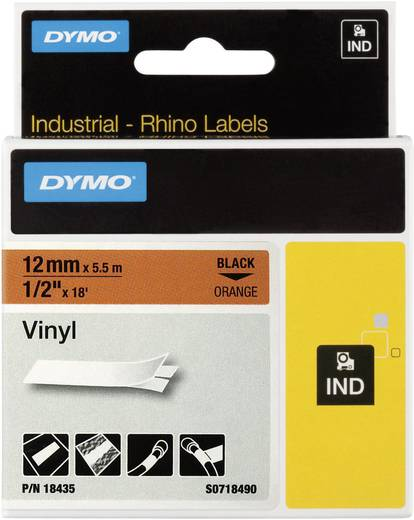 Schriftband DYMO IND RHINO 18435 Vinyl Bandfarbe: Orange Schriftfarbe:Schwarz 12 mm 5.5 m