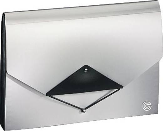 Ecobra Fächermappe/940105 DIN A4 silber/schwarz Polypropylen Inh.13-teilig