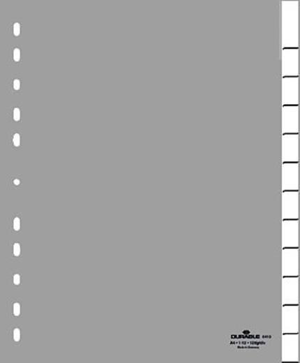 Durable Kunststoffregister blanko grau/6446-10 12-teilig