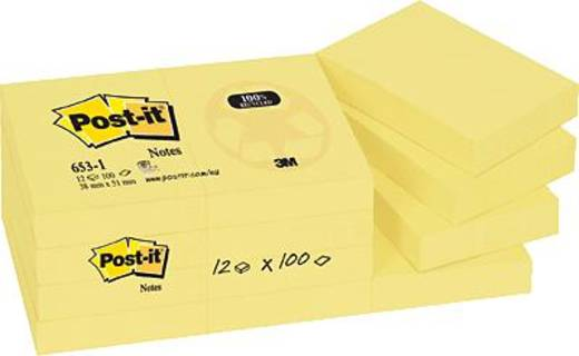 Post-it® Haftnotizen Recycling-Papier/6531GE 38x51 mm gelb Inh.3