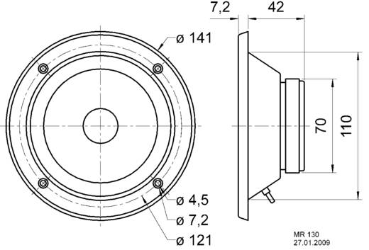 2.7 Zoll Lautsprecher-Chassis Visaton MR 130 80 W 8 Ω