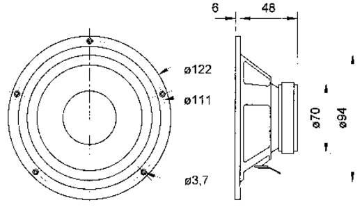 3.4 Zoll 9.4 cm Lautsprecher-Chassis Visaton W 100 S 30 W 8 Ω