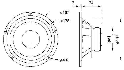 6.7 Zoll Miniaturlautsprecher Visaton W 170 S 50 W 8 Ω