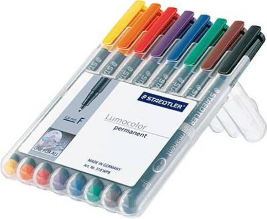 Staedtler Folienstift Lumocolor F permanent 318 Blau, Braun, Gelb, Grün, Orange, Rot, Schwarz, Violett 318 WP8