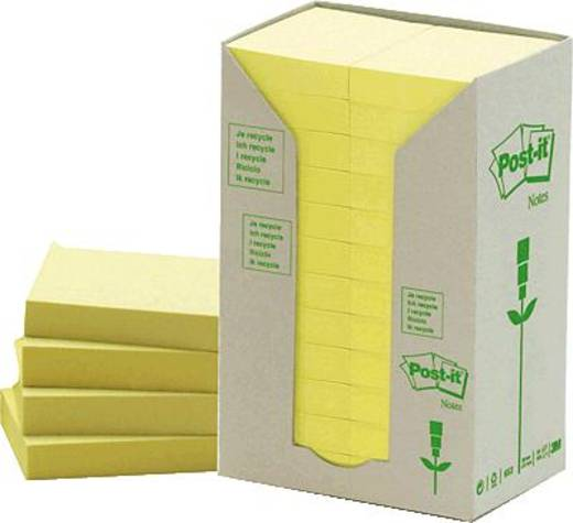 Post-it® Haftnotiz Recycling Notes Tower 653-1T 38x51 mm gelb 24 Block/Pack.