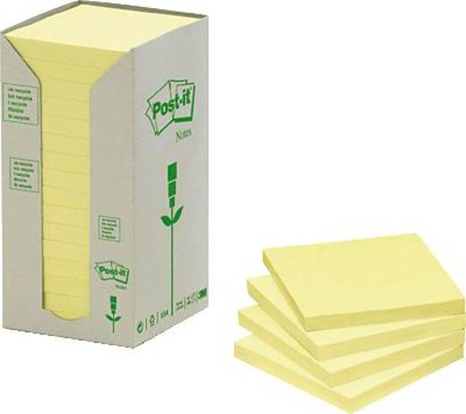 Post-it® Haftnotiz Recycling Notes Tower 654-1T 76x76 mm gelb 16 Block/Pack.