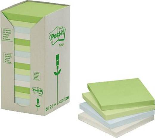Post-it® Haftnotizen Recycling-Papier/654-1RPT 76x76 mm pastell Inh.16
