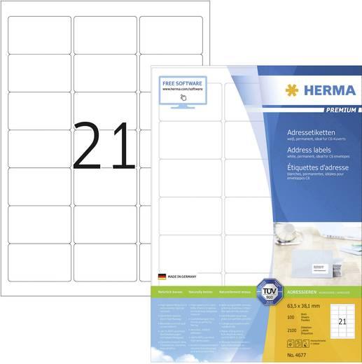 Herma 4677 Etiketten (A4) 63.5 x 38.1 mm Papier Weiß 2100 St. Permanent Universal-Etiketten, Adress-Etiketten Tinte, Las