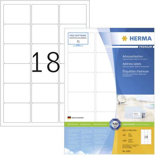 Herma 4265 Etiketten (A4) 63.5 x 46.6 mm Papier Weiß 1800 St. Permanent Adress-Etiketten Tinte, Laser, Kopie