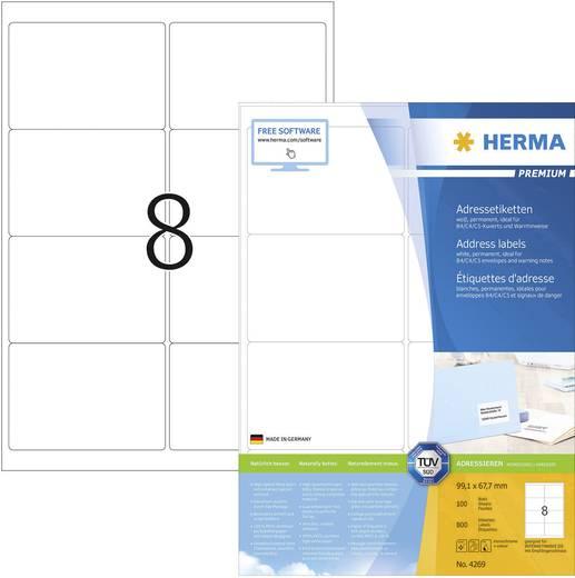Herma 4269 Etiketten (A4) 99.1 x 67.7 mm Papier Weiß 800 St. Permanent Adress-Etiketten Tinte, Laser, Kopie