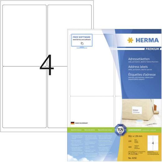 Herma 4250 Etiketten (A4) 99.1 x 139 mm Papier Weiß 400 St. Permanent Adress-Etiketten Tinte, Laser, Kopie