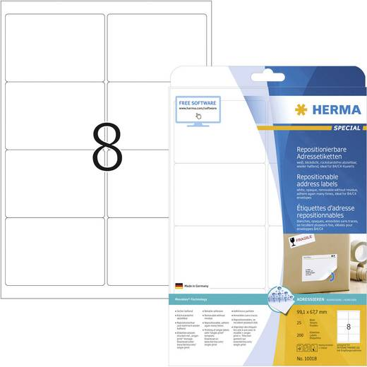 Herma 10018 Etiketten (A4) 99.1 x 67.7 mm Papier Weiß 200 St. Wiederablösbar Adress-Etiketten, Universal-Etiketten Tinte
