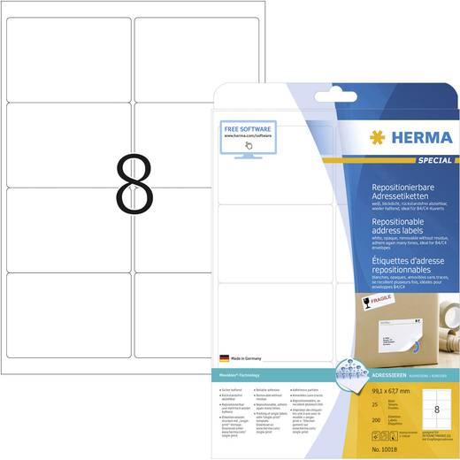 Herma 10018 Etiketten (A4) 99.1 x 67.7 mm Papier Weiß 200 St. Wiederablösbar Universal-Etiketten, Adress-Etiketten Tinte