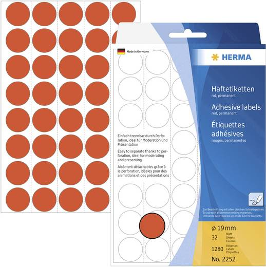 Herma 2252 Etiketten Ø 19 mm Papier Rot 1280 St. Permanent haftend Markierungspunkte Etiketten