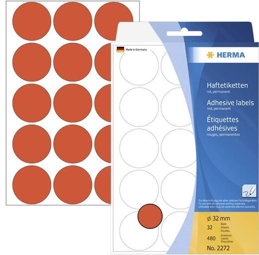 Herma 2272 Etiketten Ø 32 mm Papier Rot 480 St. Permanent Markierungspunkte Etiketten