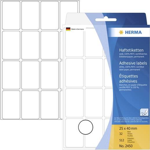 Herma 2450 Etiketten (Handbeschriftung) 25 x 40 mm Papier Weiß 512 St. Permanent Universal-Etiketten Handbeschriftung