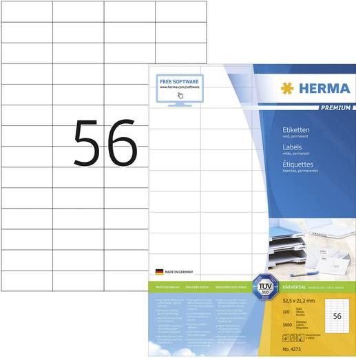 Herma 4273 Etiketten (A4) 52.5 x 21.2 mm Papier Weiß 5600 St. Permanent Universal-Etiketten Tinte