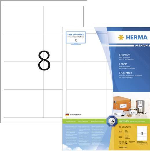 Herma 4280 Etiketten (A4) 97 x 67.7 mm Papier Weiß 800 St. Permanent Universal-Etiketten, Adress-Etiketten Tinte, Laser,