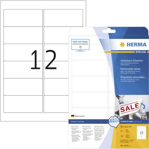 Herma 4348 Etiketten (A4) 96 x 42.3 mm Papier Weiß 300 St. Wiederablösbar Universal-Etiketten Tinte, Laser, Kopie