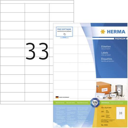 Herma 4455 Etiketten (A4) 70 x 25.4 mm Papier Weiß 3300 St. Permanent Universal-Etiketten Tinte, Laser, Kopie