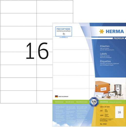 Herma 4462 Etiketten (A4) 105 x 37 mm Papier Weiß 1600 St. Permanent Universal-Etiketten Tinte, Laser, Kopie