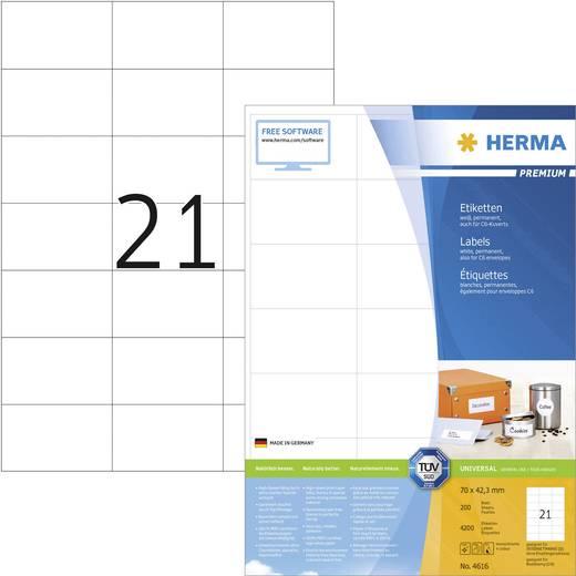 Herma 4616 Etiketten (A4) 70 x 42.3 mm Papier Weiß 4200 St. Permanent Universal-Etiketten Tinte, Laser, Kopie
