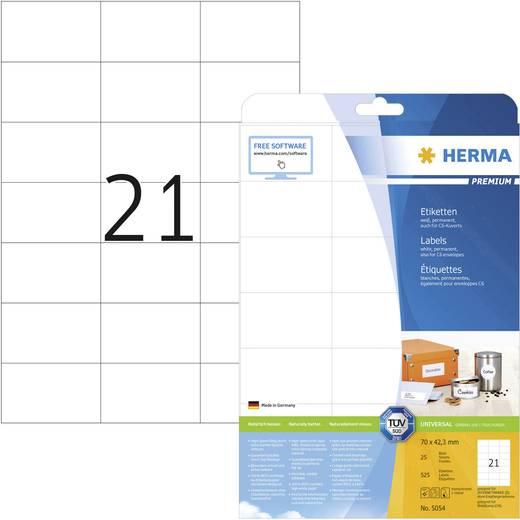 Herma 5054 Etiketten (A4) 70 x 42.3 mm Papier Weiß 525 St. Permanent Universal-Etiketten, Frankier-Etiketten Tinte, Lase