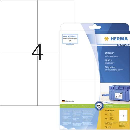 Herma 5063 Etiketten (A4) 105 x 148 mm Papier Weiß 100 St. Permanent Universal-Etiketten, Frankier-Etiketten Tinte, Laser, Kopie