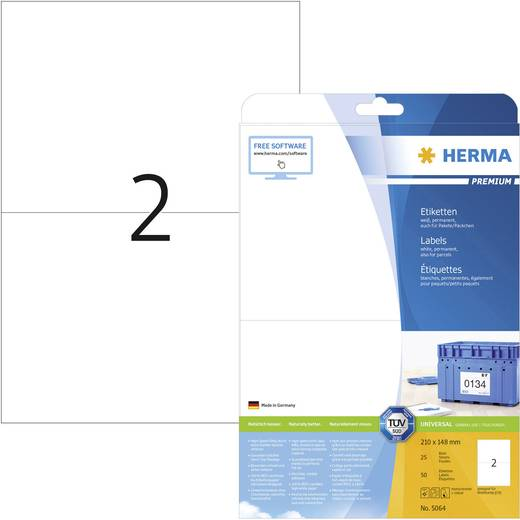 Herma 5064 Etiketten (A4) 210 x 148 mm Papier Weiß 50 St. Permanent Frankier-Etiketten, Adress-Etiketten, Universal-Etik