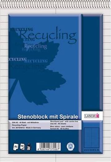 LANDRÉ Stenoblock Recycling/367504012 DIN A5 liniert 60 g/qm Inh.40 Blatt