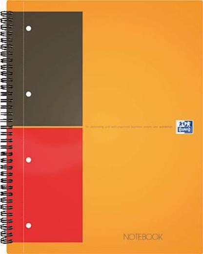 Oxford Notebook/357001201 A4+ orange/grau/rot kariert 5mm 80 g/qm Inh.80 Blatt
