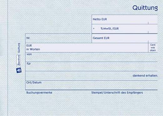 Zweckform Quittungen mit MwSt-Nachweis/1250 DIN A6 quer weiß Inh.100 Blatt