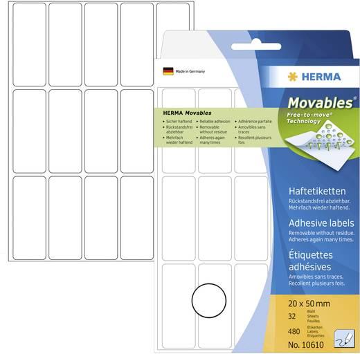 Herma 10610 Etiketten (Handbeschriftung) 20 x 50 mm Papier Weiß 480 St. Wiederablösbar Universal-Etiketten Handbeschrift