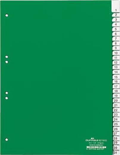 Durable Kunststoffregister Blanco/6219-05 DIN A4 hoch grün 31-teilig