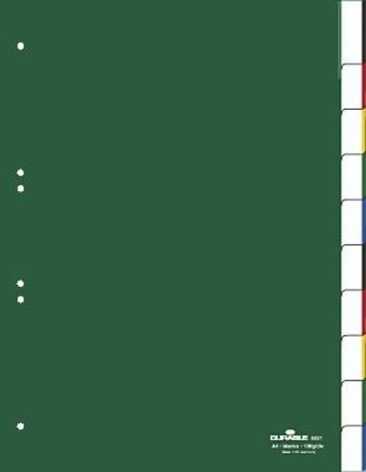 Durable Kunststoffregister Blanco/6221-05 DIN A4 hoch grün 10-teilig
