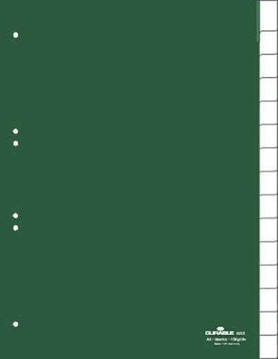 Durable Kunststoffregister Blanco/6222-05 DIN A4 hoch grün 15-teilig