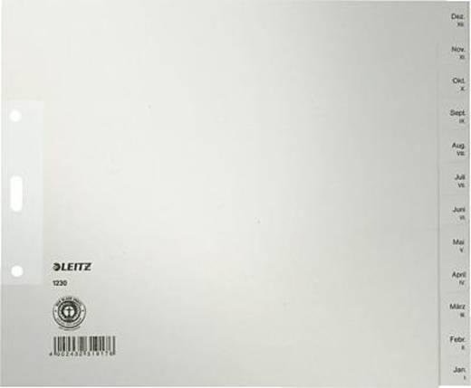 Leitz Papierregister/1230-85 A4, grau Jan-Dez, halbe Höhe 100g/qm