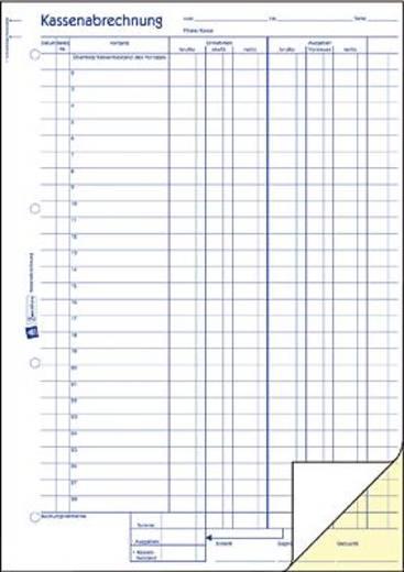 Avery Zweckform 427 Kassenabrechnung, MwSt.-Spalte für Einnahmen und Ausgaben, A4, mit Blaupapier, 2x50 Blatt