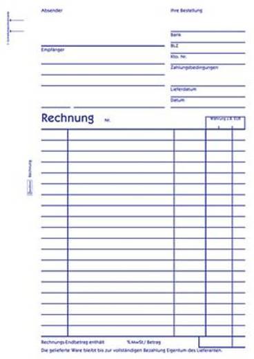 Zweckform Rechnungen/704 DIN A5 hoch weiß Inh.2x50 Blatt