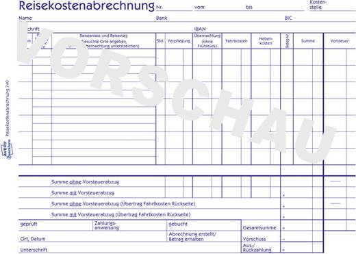 Avery Zweckform 740 Reisekostenabrechnung, für wöchentliche Abrechnung, DIN A5 quer, mit Blaupapier, 50 Blatt