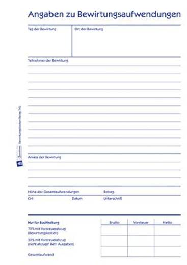Avery Zweckform 745 Bewirtungskostenbeleg, DIN A5 hoch, weiß, 50 Blatt